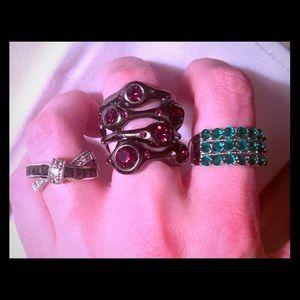 Bundle of 3 fashion rings- stacked gemstone 💎